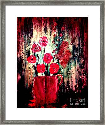 Framed Print featuring the painting Poppie Mix by Denise Tomasura