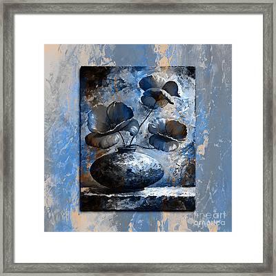 Poppies 02 - Style Blue Peach Framed Print