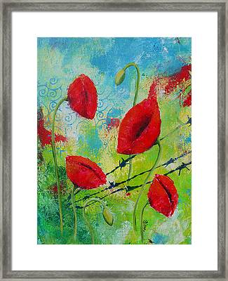 Poppies And Barbed Wire Framed Print by Bitten Kari