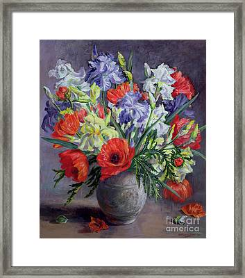 Poppies And Irises Framed Print by Anthea Durose