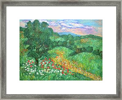 Poppies And Lace Framed Print by Kendall Kessler