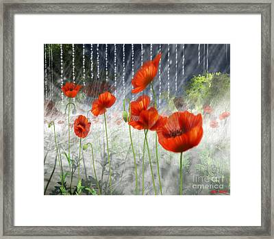 Framed Print featuring the digital art Poppies And Pearls by Susanne Baumann