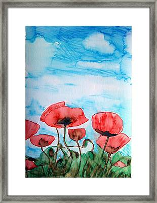 Poppies And Sky Framed Print