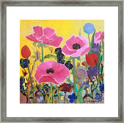 Poppies And Time Traveler Framed Print
