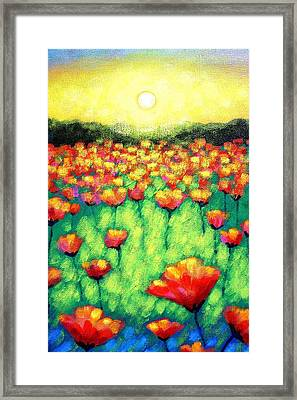 Poppies At Twilight    Cropped Version Framed Print