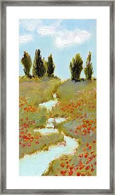 Poppies By A Stream Framed Print by J Reifsnyder