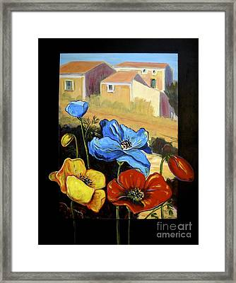 Poppies Citiscape Framed Print