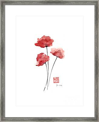 Poppies Flowers Orange Red Poppy Flower Watercolor Painting Ink Framed Print by Johana Szmerdt