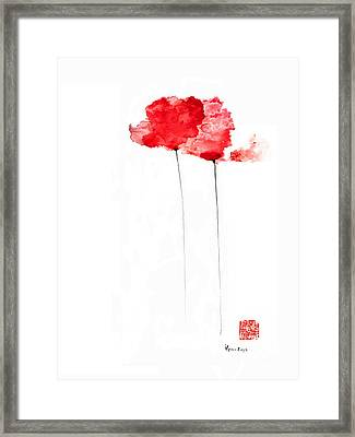 Poppies Flowers Orange Red Poppy Flower Watercolor Painting Framed Print