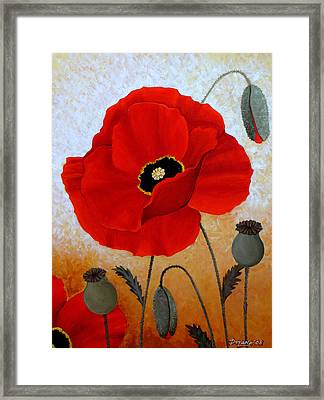 Poppies I Framed Print by Deyana Deco