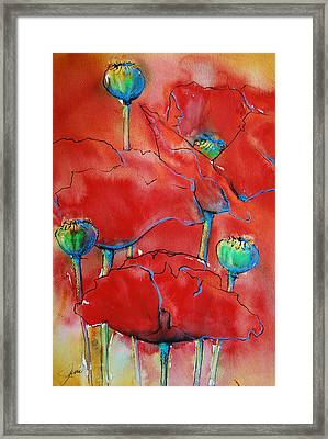 Framed Print featuring the painting Poppies II by Jani Freimann