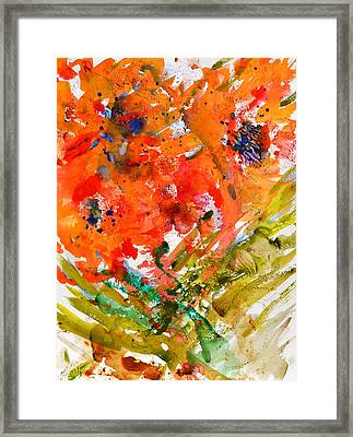 Poppies In A Hurricane Framed Print by Beverley Harper Tinsley