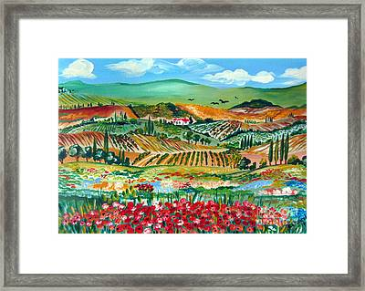 Poppies In Chianti Tuscany Framed Print