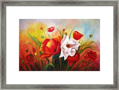 Poppies In My Garden Framed Print by Georgiana Romanovna