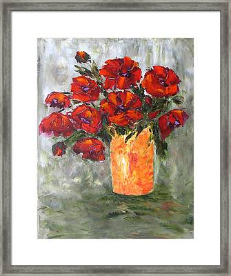 Poppies In Orange Vase Framed Print
