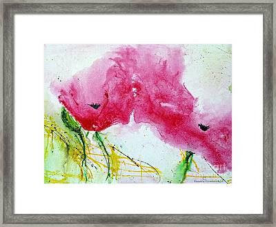 Poppies In Summer - Flower Painting Framed Print by Ismeta Gruenwald