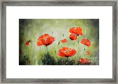 Poppies In Sunset Framed Print by Petrica Sincu