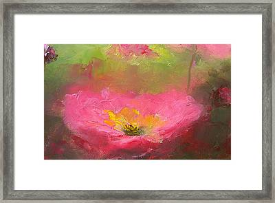 Poppies In The Garden Framed Print by Jan Matson