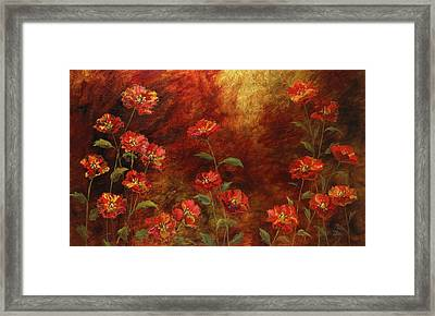 Framed Print featuring the painting Poppies In The Garden by Vic  Mastis