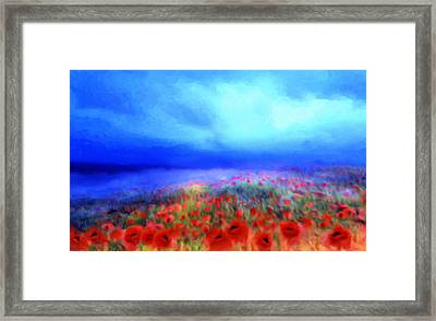 Framed Print featuring the painting Poppies In The Mist by Valerie Anne Kelly