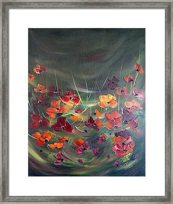 Framed Print featuring the painting Poppies In The Shadow by Dorothy Maier
