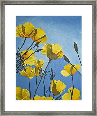 Poppies In The Sun Framed Print by Donna Blossom