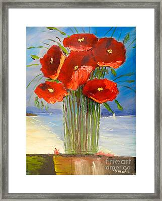 Framed Print featuring the painting Poppies On The Window Ledge by Pamela  Meredith