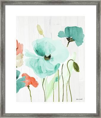 Poppies On Wood I Framed Print by Lanie Loreth