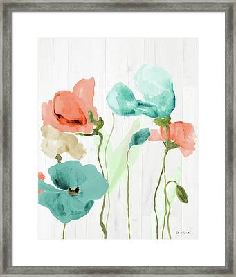 Poppies On Wood II Framed Print by Lanie Loreth