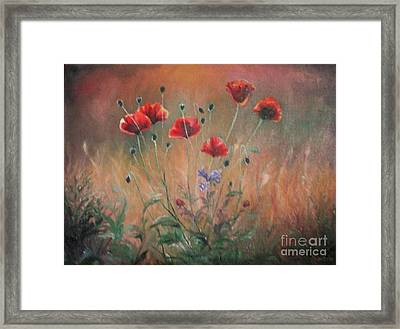 Framed Print featuring the painting Poppies by Sorin Apostolescu
