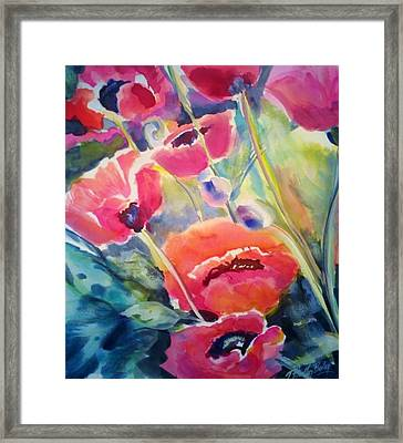 Poppies That Dance Original  Framed Print by Therese Fowler-Bailey