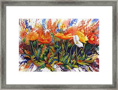 Framed Print featuring the painting Poppy Blast by Karen Mattson