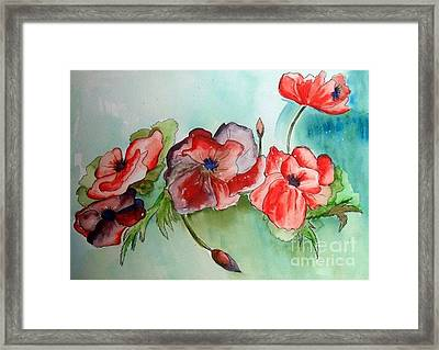Poppy Bouquet Framed Print by Iris Gelbart