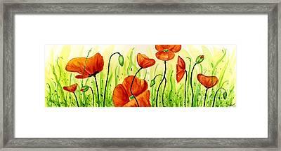 Poppy Field Framed Print by Annie Troe