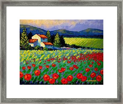 Poppy Field - Provence Framed Print by John  Nolan