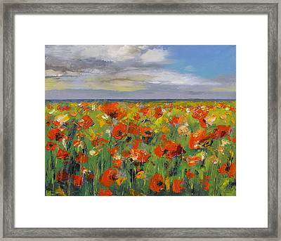 Poppy Field With Storm Clouds Framed Print by Michael Creese