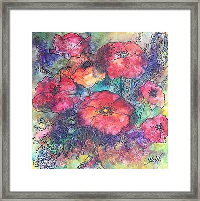 Framed Print featuring the painting Poppy Flower Splash Of Spring by Christy  Freeman