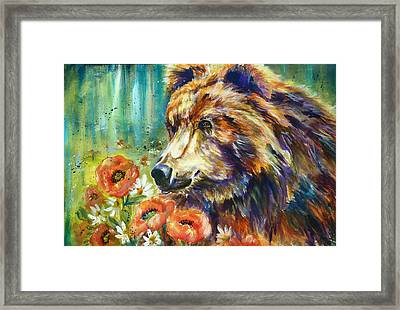 Poppy Mountain Bear Framed Print by P Maure Bausch
