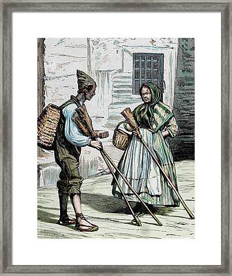 Popular Types Sellers Of Brooms Framed Print by Prisma Archivo