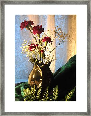 Porcelain Petal Vase 1 With Carnations Framed Print