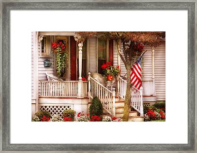 Porch - Americana Framed Print by Mike Savad
