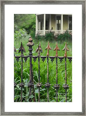 Porch And Iron Fence Framed Print by Jill Battaglia