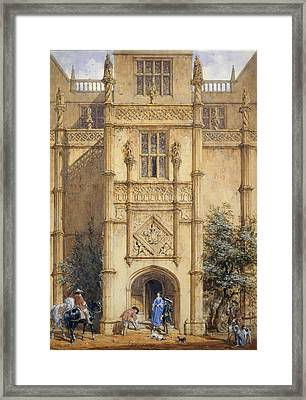 Porch At Montacute, 1842 Framed Print by John Nash