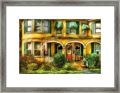 Porch - Cranford Nj - A Yellow Classic  Framed Print by Mike Savad