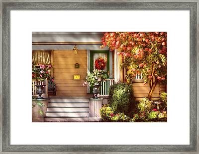 Porch - Cranford Nj - Simply Pink Framed Print by Mike Savad