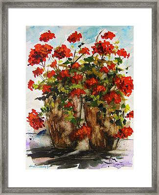 Porch Geraniums Framed Print by John Williams