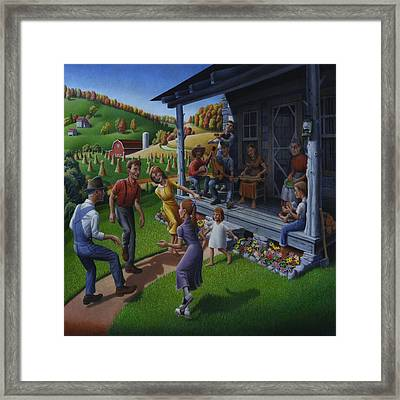 Porch Music And Flatfoot Dancing - Mountain Music - Farm Folk Art Landscape - Square Format Framed Print by Walt Curlee