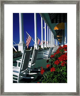 Porch Of The Grand Hotel, Mackinac Framed Print