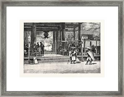 Porch Of The Ikuta Temple, Kobe Framed Print by Japanese School