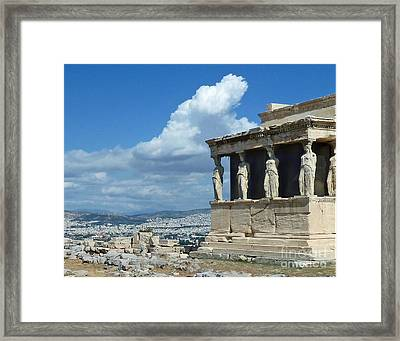 Porch Of The Maidens Framed Print by Cheryl Del Toro